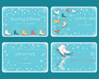 Vector set of business cards in doodle style with skate shoes. Stock Image