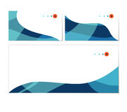 Vector set of business cards and envelope templates. Stylish blue waves. Can be used as flyer, cover, business cards, envelope, and brochure background Royalty Free Stock Photo