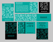 Vector set of business cards flayers banners with oriental pattern. Royalty Free Stock Photos