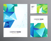 Vector set of business cards, flyers with faceted Royalty Free Stock Photography