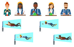 Vector set of business character and people gaming Royalty Free Stock Photo