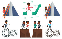 Vector set of business characters. stock illustration