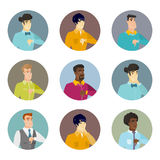Vector set of business characters in the circle. Royalty Free Stock Photo