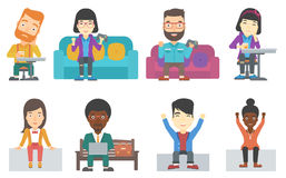 Vector set of business characters and gamers. Stock Photos