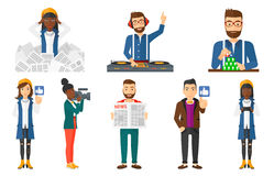 Vector set of business characters and media people Royalty Free Stock Images