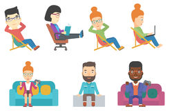 Vector set of business characters and tourists. Stock Photo