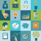 Vector set of business concepts in flat style Royalty Free Stock Images