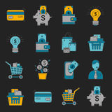 Vector set of business and finance Bank Internet shopping Payments. Money Stock Photography