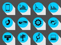 Vector set business or finance  icons with long shadow. Vector Illustration isolated for graphic and web design Stock Images