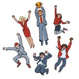 Vector set of business people men and women jumping for joy holding up winning cup. Partnership teamwork concept. Team vector illustration
