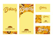 Vector set of business template and branding elements for bakery, bread shop and cafe stock illustration