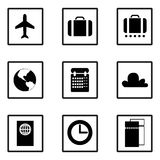 Vector. Set of business travel icons. Plane, suitcase, luggage, earth, map, calendar, cloud, passport, clock, time, tickets. Royalty Free Stock Images