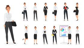 Vector Set of business woman character. Office female. Vector Set of business woman character. Office female Stock Photography