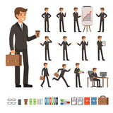 Vector set of businessman in different action poses with accessories. Funny characters illustrations. Vector set of businessman in different action poses with Royalty Free Stock Images