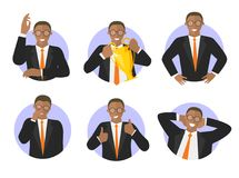 Vector set of businessman success expression icons. Black man in suit Stock Images