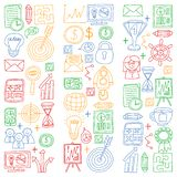 Vector set of bussines icons in doodle style. colorful pictures on a piece of paper on white background. stock illustration