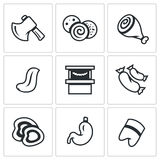 Vector Set of Butcher Shop Icons. Ax, Sausage, Ham, Language, Sale, Sausages, Cutting, Stomach, Pig foot. Royalty Free Stock Photo