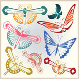 Vector set butterflies for design invitations, advertisements, g Royalty Free Stock Image