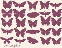 Vector set of butterflies silhouettes Royalty Free Stock Photo