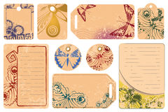 Vector set: Butterfly tags for a message Royalty Free Stock Photos