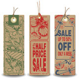 Vector set: Butterfly tags with a message about the sale Stock Photos