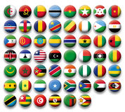 Vector Set of buttons flags of Africa Royalty Free Stock Image