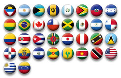 Vector Set of buttons flags of America Royalty Free Stock Photography