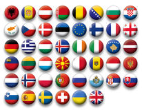 Vector Set of buttons flags of Europe Stock Photo