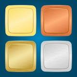 Vector set of buttons. Vector set of four miscellaneous metallic buttons Stock Photos