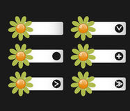 Vector set of buttons with paper flowers on the left and right. Icons. Down arrow, right, icon, plus, an empty space under the icon. Matte effect. You can use Stock Images