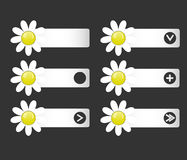 Vector set of buttons with paper flowers on the left and right. Icons. Down arrow, right, icon, plus, an empty space under the icon. Matte effect. You can use stock illustration
