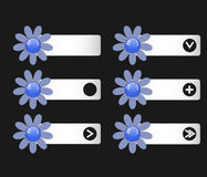 Vector set of buttons with paper flowers on the left and right. Icons. Down arrow, right, icon, plus, an empty space under the icon. Matte effect. You can use vector illustration