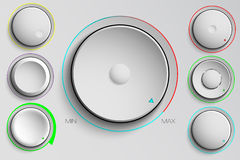 Vector set of buttons, volume control Royalty Free Stock Images