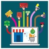 Vector set Buy online credit card shopping bag lipstick Each gift bo Royalty Free Stock Photos