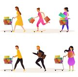 Vector set of buyers holding cart and bags for seasonal shopping sale. Vector set of buyers holding cart and bags for seasonal shopping sale concept royalty free illustration