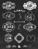 Vector set of cafe labels, design elements Royalty Free Stock Image