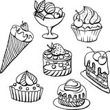 Vector set of cakes in black. Hand drawn Stock Image