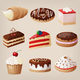 Vector set of cakes, cookies, donuts, pies. Royalty Free Stock Photos