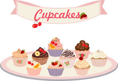 Vector set of cakes and cupcakes. Set of insulated cakes and cupcakes on a white background Stock Image