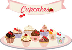 Vector set of cakes and cupcakes. Set of insulated cakes and cupcakes on a white background Stock Photos