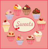 Vector set of cakes and cupcakes. Set of insulated cakes and cupcakes on a white background Royalty Free Stock Images