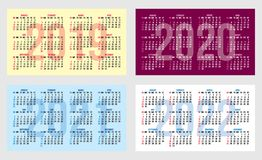 Vector set of calendar grid for years 2019-2022 for business cards. Vector set of calendar grids for years 2019-2022 for business cards royalty free illustration