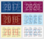 Vector set of calendar grid for years 2017-2022 for business cards Stock Photos