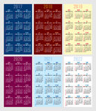 Vector set of calendar grid for years 2017-2022 for business cards. Vector set of calendar grids for years 2017-2022 for business cards Stock Photography