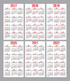 Vector set of calendar grid for years 2017-2022 for business cards on white background. Vector set of calendar grids for years 2017-2022 for business cards on Stock Photos