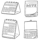 Vector set of calendar. Hand drawn cartoon, doodle illustration royalty free illustration