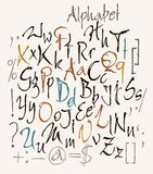 Vector set of calligraphic acrylic or ink numbers Stock Photography