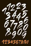 Vector set of calligraphic acrylic or ink numbers Royalty Free Stock Images