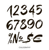 Vector set of calligraphic acrylic or ink numbers Royalty Free Stock Photo