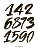 Vector set of calligraphic acrylic or ink numbers Stock Images